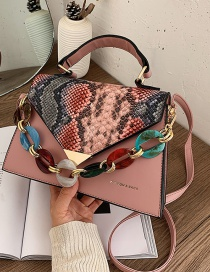 Fashion Pink Contrast Snake Print Flap Crossbody Shoulder Bag