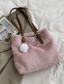 Fashion Pink Large Capacity Plush Contrast Color Shoulder Bag