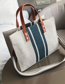 Fashion Blue Canvas Striped Contrast Shoulder Bag