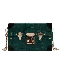 Fashion Dark Green Crocodile Pattern Thin Chain Diagonal Shoulder Bag