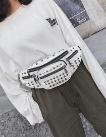 Fashion White Alloy Small Rivet One Shoulder Messenger Chest Bag