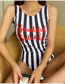 Fashion Stripe Striped Halter Letter Print One-piece Swimsuit