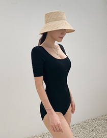 Fashion Black Open Back Solid Color Square Neck One-piece Swimsuit