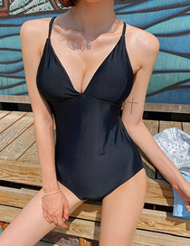 Fashion Black Small Chest Open Back V-neck One-piece Swimsuit