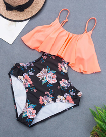 Fashion Printing Contrast Print Cutout One-piece Swimsuit