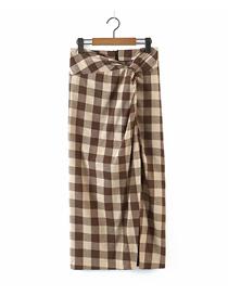 Fashion Lattice Knotted Plaid Wide Loose Skirt