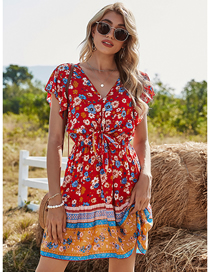 Fashion Red V-neck Print Dress With Tie