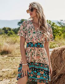 Fashion Pink Apricot High Waist V-neck Short Sleeve Printed Dress