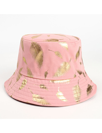 Fashion Pink Feather Print Cotton Sunscreen Fisherman Hat