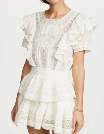 Fashion White Lace Stitching Multilayer Cake Dress