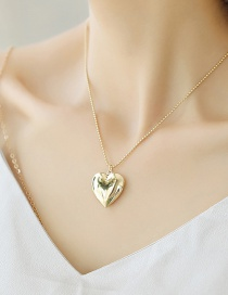 Fashion Rose Gold Mercerized Peach Heart Photo Box Necklace