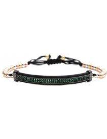 Fashion Mixed Color Chain Gun Black Green Zirconium Elbow Roman Alphabet Stainless Steel Elbow Braided Adjustable Mens Bracelet