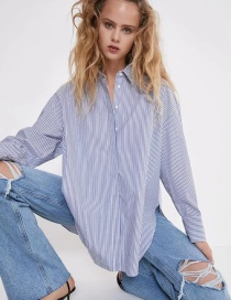 Fashion Stripe Loose Striped Long-sleeved Single-breasted Shirt