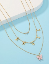 Fashion Gold Color Resin Butterfly Letter Alloy Multilayer Necklace