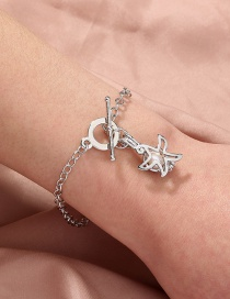 Fashion Silver Color Natural Freshwater Oyster Pearl Haitang Star Bracelet