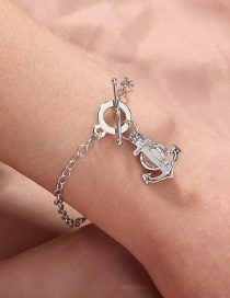 Fashion Silver Color Natural Freshwater Oyster Pearl Anchor Bracelet