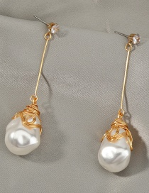 Fashion Gold Color Pearl Winding Alloy Geometric Earrings