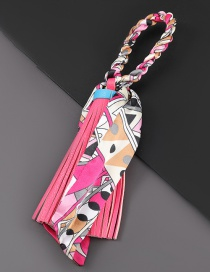 Fashion Rose Red Printed Silk Fabric Artificial Leather Tassel Keychain Pendant