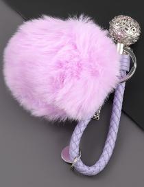 Fashion Purple Alloy Bell Round Hair Ball Keychain Pendant