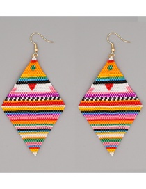 Fashion Stripe Hand-woven Beaded Color Matching Geometric Striped Rice Bead Earrings
