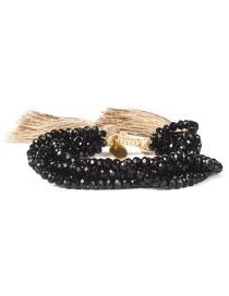 Fashion Tassel Black Lip Rice Beads Hand-woven Crystal Beaded Multilayer Bracelet