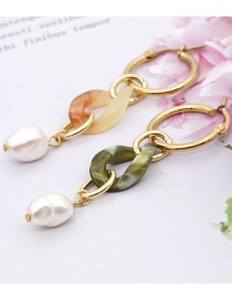 Fashion Color Mixing Natural Freshwater Pearl Acrylic Contrast Earrings