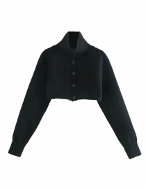 Fashion Black Button-decorated Turtleneck Cropped Sweater