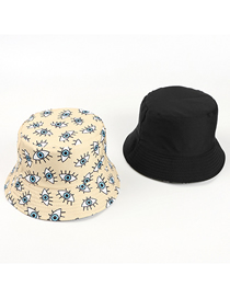 Fashion Beige Eye Print Double-sided Fisherman Hat