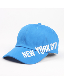 Fashion Blue Letter Embroidery Curved Brim Baseball Cap