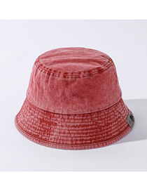 Fashion Skin Red Fabric Label Old Washed Cotton Fisherman Hat