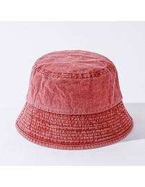 Fashion Skin Red Pure Color Light Board Washed Cotton Shade Fisherman Hat