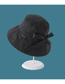 Fashion Black Big Along The Wide Side Sunshade Solid Color Bow Sunscreen Fisherman Hat