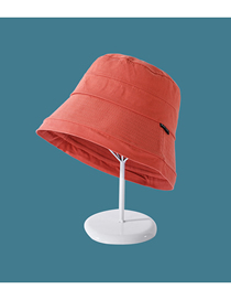 Fashion Orange Solid Color Cloth Label Flat Top Sun Protection Foldable Fisherman Hat