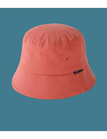 Fashion Orange Solid Color Cloth Label Flat Top Shade Fisherman Hat