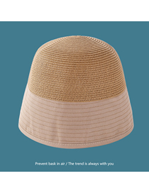 Fashion Khaki Color-blocking Wide-brim Blended Contrast Color Fisherman Hat