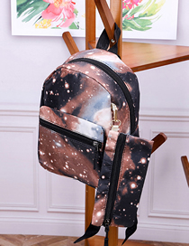 Fashion Starry Sky Brown Printed Canvas Backpack