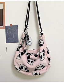 Fashion Pink Without Pendant Plush Rabbit Print Diagonal Shoulder Bag