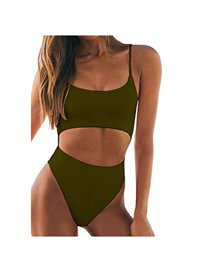 Fashion Black Solid Color High Waist Hollow One-piece Swimsuit