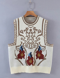 Fashion Creamy-white Printed Geometric Knitted Vest