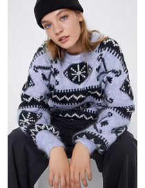 Fashion Purple Wool And Mohair Geometric Round Neck Sweater