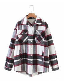 Fashion Red And Black Grid Woolen Check Shirt Jacket