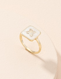 Fashion Gold Color Lucky Four-leaf Clover Alloy Square Ring