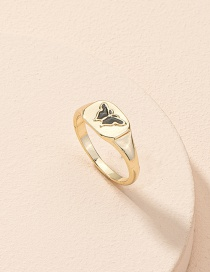 Fashion Gold Color Butterfly Alloy Drop Oil Geometric Ring