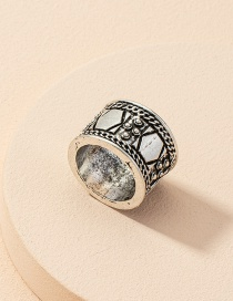 Fashion Ring Distressed Geometric Mens Wide Face Ring