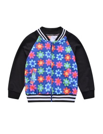 Fashion Colored Flowers Printed Contrast Stitching Childrens Jacket