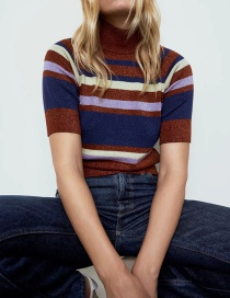 Fashion Color Striped Stand Collar Contrast Sweater