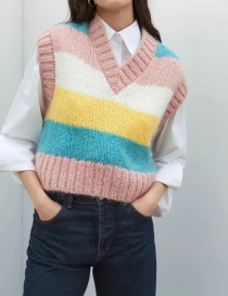 Fashion Color Contrast Striped Knitted Vest