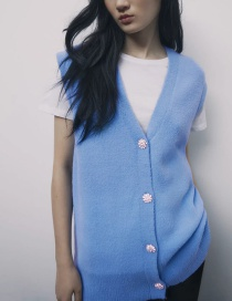 Fashion Blue Costume Jewelry Button V-neck Knitted Vest