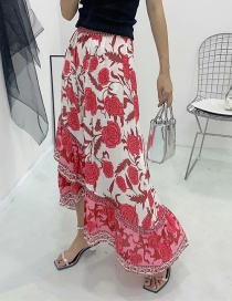 Fashion Red Irregular Cross Skirt With Floral Print