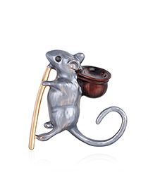 Fashion Gray Blue Alloy Mouse Brooch